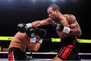 15 March 2019; D'Mitrius Ballard, right, and Victor Fonseca during their super middleweight contest at the Liacouras Center in Philadelphia, USA. Photo by Stephen McCarthy / Sportsfile