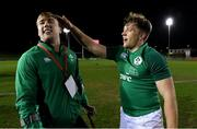 15 March 2019; Injured Ireland captain David Hawkshaw celebrates with team-mate Liam Turner after the U20 Six Nations Rugby Championship match between Wales and Ireland at Zip World Stadium in Colwyn Bay, Wales. Photo by Piaras Ó Mídheach/Sportsfile