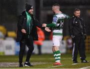 15 March 2019; Jack Byrne of Shamrock Rovers celebrates after scoring his side's third goal with Shamrock Rovers manager Stephen Bradley during the SSE Airtricity League Premier Division match between Shamrock Rovers and Sligo Rovers at Tallaght Stadium in Dublin. Photo by Harry Murphy/Sportsfile