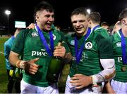 15 March 2019; Ireland players John Hodnett, left, and Angus Kernohan celebrate after the U20 Six Nations Rugby Championship match between Wales and Ireland at Zip World Stadium in Colwyn Bay, Wales. Photo by Piaras Ó Mídheach/Sportsfile
