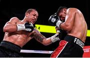 15 March 2019; D'Mitrius Ballard, left, and Victor Fonseca during their super middleweight contest at the Liacouras Center in Philadelphia, USA. Photo by Stephen McCarthy / Sportsfile