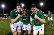 15 March 2019; Ireland players, from left, Ryan Baird, Liam Turner and John Hodnett celebrate after the U20 Six Nations Rugby Championship match between Wales and Ireland at Zip World Stadium in Colwyn Bay, Wales. Photo by Piaras Ó Mídheach/Sportsfile