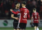 15 March 2019; Pat Hoban, left, of Dundalk and Darren Cole of Derry City after the SSE Airtricity League Premier Division match between Derry City and Dundalk at Ryan McBride Brandywell Stadium in Derry Photo by Oliver McVeigh/Sportsfile