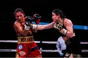 15 March 2019; Katie Taylor, right, and Rose Volante during their WBA, IBF & WBO Female Lightweight World Championships unification bout at the Liacouras Center in Philadelphia, USA. Photo by Stephen McCarthy / Sportsfile