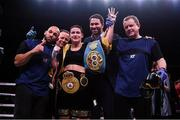 15 March 2019; Katie Taylor celebrates with team members Ross Enamait, Eddie Hearn, and Brian Peters after her WBA, IBF & WBO Female Lightweight World Championships unification bout with Rose Volante at the Liacouras Center in Philadelphia, USA. Photo by Stephen McCarthy / Sportsfile