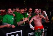 15 March 2019; John Joe Nevin celebrates with supporters after his lightweight contest with Andres Figueroa at the Liacouras Center in Philadelphia, USA. Photo by Stephen McCarthy / Sportsfile