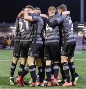 15 March 2019; Sean Murray of Dundalk, hidden, celebrates with team-mates after scoring his sides first goal during the SSE Airtricity League Premier Division match between Derry City and Dundalk at Ryan McBride Brandywell Stadium in Derry Photo by Oliver McVeigh/Sportsfile