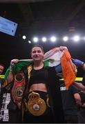 15 March 2019; Katie Taylor celebrates after defeating Rose Volante in their WBA, IBF & WBO Female Lightweight World Championships unification bout at the Liacouras Center in Philadelphia, USA. Photo by Stephen McCarthy / Sportsfile
