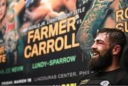 15 March 2019; Jono Carroll during a press conference following his International Boxing Federation World Super Featherweight title bout against Tevin Farmer at the Liacouras Center in Philadelphia, USA. Photo by Stephen McCarthy / Sportsfile