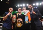15 March 2019; Katie Taylor celebrates, from left, with coach Ross Enamait, manager Brian Peters and promoter Eddie Hearn after defeating Rose Volante in their WBA, IBF & WBO Female Lightweight World Championships unification bout at the Liacouras Center in Philadelphia, USA. Photo by Stephen McCarthy / Sportsfile