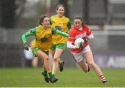 16 March 2019; Áine O'Sullivan of Cork in action against Megan Ryan of Donegal during the Lidl Ladies NFL Division 1 Round 5 match between Cork and Donegal at Páirc Uí Rinn in Cork. Photo by Eóin Noonan/Sportsfile