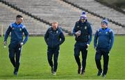 16 March 2019; Raymond Galligan, Cian Mackey, and Gearoid McKiernan of Cavan along with Cavan manager Mickey Graham, right, on the field before the Allianz Football League Division 1 Round 6 match between Monaghan and Cavan at St Tiernach's Park in Clones, Monaghan. Photo by Oliver McVeigh/Sportsfile