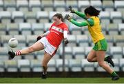 16 March 2019; Áine O'Sullivan of Cork in action against Anna Marie McGlynn of Donegal during the Lidl Ladies NFL Division 1 Round 5 match between Cork and Donegal at Páirc Uí Rinn in Cork. Photo by Eóin Noonan/Sportsfile
