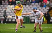 16 March 2019; Conor McDonald of Wexford shoots to score their side's second goal, despite the efforts of Paul Killeen of Galway during the Allianz Hurling League Division 1 Quarter-Final match between Galway and Wexford at Pearse Stadium in Salthill, Galway. Photo by Sam Barnes/Sportsfile