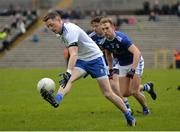 16 March 2019; Conor McManus of Monaghan, left, in action against Padraig Faulkner of Cavan during the Allianz Football League Division 1 Round 6 match between Monaghan and Cavan at St Tiernach's Park in Clones, Monaghan. Photo by Oliver McVeigh/Sportsfile