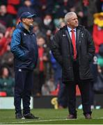 16 March 2019; Ireland head coach Joe Schmidt, left, in conversation with Wales head coach Warren Gatland ahead of the Guinness Six Nations Rugby Championship match between Wales and Ireland at the Principality Stadium in Cardiff, Wales. Photo by Ramsey Cardy/Sportsfile