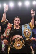 15 March 2019; Katie Taylor following her WBA, IBF & WBO Female Lightweight World Championships unification bout with Rose Volante at the Liacouras Center in Philadelphia, USA. Photo by Stephen McCarthy/Sportsfile