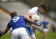 16 March 2019; Darren Hughes of Monaghan in action against Killian Clarke of Cavan during the Allianz Football League Division 1 Round 6 match between Monaghan and Cavan at St Tiernach's Park in Clones, Monaghan. Photo by Oliver McVeigh/Sportsfile