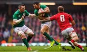 16 March 2019; Rob Kearney of Ireland, supported by team-mate Peter O'Mahony, is tackled by Ross Moriarty of Wales during the Guinness Six Nations Rugby Championship match between Wales and Ireland at the Principality Stadium in Cardiff, Wales. Photo by Brendan Moran/Sportsfile