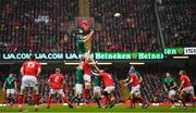 16 March 2019; Tadhg Beirne of Ireland wins possession in the lineout during the Guinness Six Nations Rugby Championship match between Wales and Ireland at the Principality Stadium in Cardiff, Wales. Photo by Brendan Moran/Sportsfile