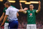 16 March 2019; Jonathan Sexton of Ireland reacts to a decision by referee Angus Gardner during the Guinness Six Nations Rugby Championship match between Wales and Ireland at the Principality Stadium in Cardiff, Wales. Photo by Brendan Moran/Sportsfile