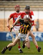 16 March 2019; Aidan Nolan of Kilkenny in action against  Robert Downey and Bill Cooperof Cork during the Allianz Hurling League Division 1 Relegation Play-Off match between Kilkenny and Cork at Nowlan Park in Kilkenny. Photo by Harry Murphy/Sportsfile