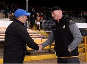 16 March 2019; Cork manager John Meyler shakes hands with Kilkenny  manager Brian Cody following the Allianz Hurling League Division 1 Relegation Play-Off match between Kilkenny and Cork at Nowlan Park in Kilkenny. Photo by Harry Murphy/Sportsfile