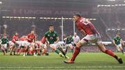 16 March 2019; Dan Biggar of Wales under pressure from Conor Murray of Ireland during the Guinness Six Nations Rugby Championship match between Wales and Ireland at the Principality Stadium in Cardiff, Wales. Photo by Ramsey Cardy/Sportsfile