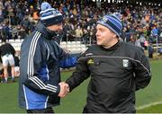 16 March 2019; Monaghan manager Malachy O'Rourke and Cavan manager Mickey Graham exchange handshakes after the Allianz Football League Division 1 Round 6 match between Monaghan and Cavan at St Tiernach's Park in Clones, Monaghan. Photo by Oliver McVeigh/Sportsfile