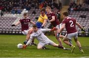 16 March 2019; Enda Smith of Roscommon in action against, from left, David Wynne, Ciarán Duggan, Ruairí Lavelle and Eoghan Kerin of Galway during the Allianz Football League Division 1 Round 6 match between Galway and Roscommon at Pearse Stadium in Salthill, Galway. Photo by Sam Barnes/Sportsfile