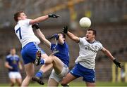 16 March 2019; Kieran Duffy and Ryan Wylie of Monaghan in action against James Smith of Cavan during the Allianz Football League Division 1 Round 6 match between Monaghan and Cavan at St Tiernach's Park in Clones, Monaghan. Photo by Oliver McVeigh/Sportsfile