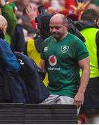 16 March 2019; Ireland captain Rory Best leaves the pitch after his final game during the Guinness Six Nations Rugby Championship match between Wales and Ireland at the Principality Stadium in Cardiff, Wales. Photo by Brendan Moran/Sportsfile