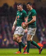 16 March 2019; Ireland vice-caption Peter O'Mahony, left, and Jonathan Sexton of Ireland during the Guinness Six Nations Rugby Championship match between Wales and Ireland at the Principality Stadium in Cardiff, Wales. Photo by Brendan Moran/Sportsfile