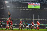 16 March 2019; Peter O'Mahony of Ireland wins a lineout as the scoreboard reads 22-0 during the Guinness Six Nations Rugby Championship match between Wales and Ireland at the Principality Stadium in Cardiff, Wales. Photo by Brendan Moran/Sportsfile