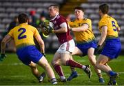 16 March 2019; Danny Cummins of Galway in action against, from left, David Murray, Gary Patterson and Conor Devaney of Roscommon during the Allianz Football League Division 1 Round 6 match between Galway and Roscommon at Pearse Stadium in Salthill, Galway. Photo by Sam Barnes/Sportsfile