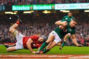 16 March 2019; Jordan Larmour of Ireland scores his side's last minute try during the Guinness Six Nations Rugby Championship match between Wales and Ireland at the Principality Stadium in Cardiff, Wales. Photo by Brendan Moran/Sportsfile