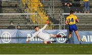 16 March 2019; Conor Cox of Roscommon shoots to score their side's first goal from a penalty despite the efforts of Ruairí Lavelle of Galway during the Allianz Football League Division 1 Round 6 match between Galway and Roscommon at Pearse Stadium in Salthill, Galway. Photo by Sam Barnes/Sportsfile