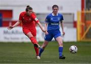 16 March 2019; Kate Mooney of Shelbourne in action against Meg Brennan of Limerick during the Só Hotels Women's National League match between Shelbourne and Limerick at Tolka Park in Dublin.  Photo by Piaras Ó Mídheach/Sportsfile