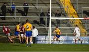 16 March 2019; Conor Cox of Roscommon celebrates after scoring their side's first goal during the Allianz Football League Division 1 Round 6 match between Galway and Roscommon at Pearse Stadium in Salthill, Galway. Photo by Sam Barnes/Sportsfile