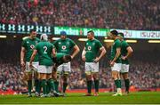 16 March 2019; Members of the Ireland team during the Guinness Six Nations Rugby Championship match between Wales and Ireland at the Principality Stadium in Cardiff, Wales. Photo by Brendan Moran/Sportsfile