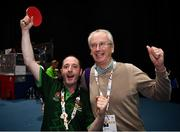 16 March 2019; Team Ireland's Francis Power, a member of Navan Arch Club, from Navan, Co. Meath, with Chief Executive of Sport Ireland John Treacy after his 3-2 win in the Table Tennis matches on Day Two of the 2019 Special Olympics World Games in the Abu Dhabi National Exhibition Centre, Abu Dhabi, United Arab Emirates. Photo by Ray McManus/Sportsfile