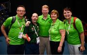 16 March 2019; Team Ireland's Francis Power, a member of Navan Arch Club, from Navan, Co. Meath, with Paul Ahern, left, Gary Desond, centre, CEO Gala Retail, Jo McDaid, and Annmarie Sweeney, right, after his 3-2 win in the Table Tennis matches on Day Two of the 2019 Special Olympics World Games in the Abu Dhabi National Exhibition Centre, Abu Dhabi, United Arab Emirates. Photo by Ray McManus/Sportsfile