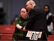 16 March 2019; Team Ireland's Fiodhna O'Leary, a member of the Blackrock Flyers Special Olympics Club, from Dublin 18, Co. Dublin, shakes hands with a judge after her Table Tennis match on Day Two of the 2019 Special Olympics World Games in the Abu Dhabi National Exhibition Centre, Abu Dhabi, United Arab Emirates. Photo by Ray McManus/Sportsfile