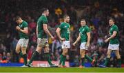 16 March 2019; Ireland players, from left, Garry Ringrose, James Ryan, Jack Carty, Jordan Larmour and Kieran Marmion during the Guinness Six Nations Rugby Championship match between Wales and Ireland at the Principality Stadium in Cardiff, Wales. Photo by Brendan Moran/Sportsfile