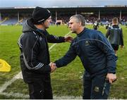 16 March 2019; Dublin manager Mattie Kenny shakes hands with Tipperary manager Liam Sheedy after the Allianz Hurling League Division 1 Quarter-Final match between Tipperary and Dublin at Semple Stadium in Thurles, Tipperary. Photo by Daire Brennan/Sportsfile