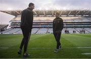16 March 2019; Peter Harte, right, and Colm Cavanagh of Tyrone prior to the Allianz Football League Division 1 Round 6 match between Dublin and Tyrone at Croke Park in Dublin. Photo by David Fitzgerald/Sportsfile