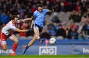 16 March 2019; Cormac Costello of Dublin scores his side's first goal as Ronan McNamee of Tyrone closes in during the Allianz Football League Division 1 Round 6 match between Dublin and Tyrone at Croke Park in Dublin. Photo by Piaras Ó Mídheach/Sportsfile