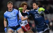 16 March 2019; Dublin goalkeeper Stephen Cluxton, supported by team-mate Con O'Callaghan, in action against Peter Harte of Tyrone during the Allianz Football League Division 1 Round 6 match between Dublin and Tyrone at Croke Park in Dublin. Photo by Piaras Ó Mídheach/Sportsfile