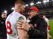 16 March 2019; Tyrone manager Mickey Harte celebrates with Cathal McShane following the Allianz Football League Division 1 Round 6 match between Dublin and Tyrone at Croke Park in Dublin. Photo by Piaras Ó Mídheach/Sportsfile