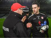 16 March 2019; Tyrone goalkeeper Niall Morgan is congratulated by manager Mickey Harte following the Allianz Football League Division 1 Round 6 match between Dublin and Tyrone at Croke Park in Dublin. Photo by David Fitzgerald/Sportsfile